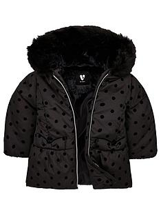 mini-v-by-very-girlsnbspfaux-fur-flock-spot-coat-black