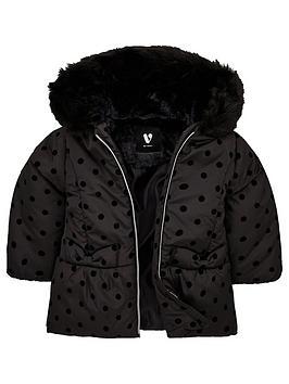 mini-v-by-very-girlsnbspfaux-fur-flock-spot-coat-black
