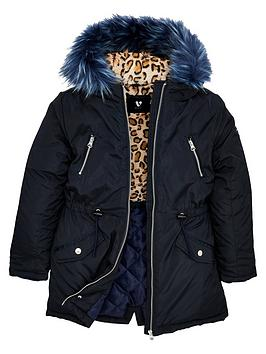 V by Very V By Very Girls Parka Coat - Navy Picture