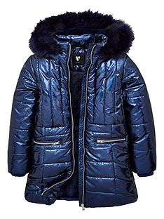 v-by-very-girls-high-shine-faux-fur-hooded-coat-navy
