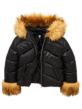 v-by-very-girls-faux-fur-cuff-sleeves-hooded-coat-black