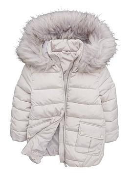 V by Very V By Very Girls Grey Longline Padded Faux Fur Hooded Coat - Grey Picture