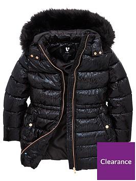 v-by-very-girls-snake-print-high-shine-faux-fur-collar-padded-coat-black