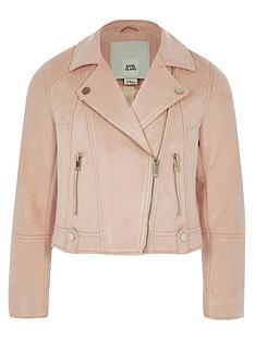 river-island-girls-coral-faux-suede-biker-jacket