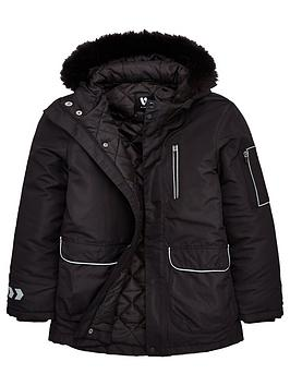 v-by-very-boys-reflectivenbsptrim-amp-zip-detail-faux-fur-hooded-parka-black