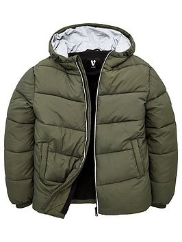 V by Very V By Very Boys Reflective Hooded Padded Coat - Khaki Picture