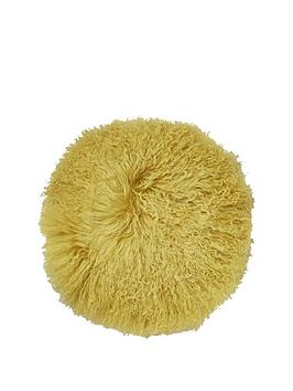 River Island River Island Round Mongolian Cushion In Chartreuse Picture