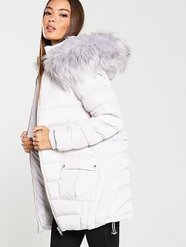 V by Very V By Very Multi Seam Padded Coat With Faux Fur Trim - Pale Grey Picture