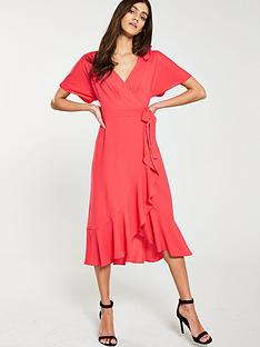 whistles-abrigail-frill-wrap-dress-flamingo