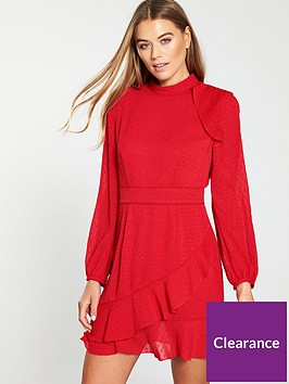 whistles-high-neck-dobby-frill-dress-red