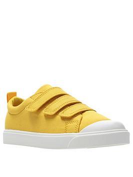 clarks city flare lo canvas plimsolls - yellow