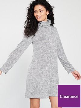 v-by-very-lightweight-knitted-roll-neck-dress-grey