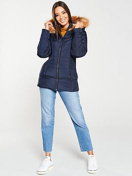 v-by-very-short-faux-fur-trim-padded-coat-navy