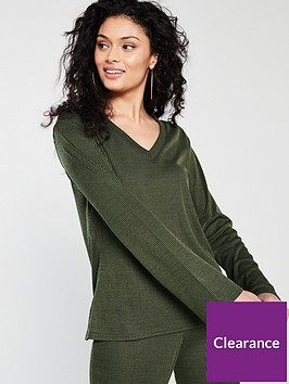 v-by-very-ribbed-v-neck-top-co-ordnbsp--khaki