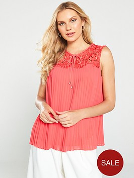 ted-baker-sherbey-pleated-lace-blouse-bright-red