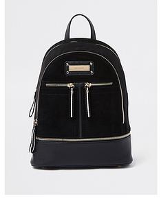 7d54ff76fca4 River Island Medium Zip Backpack - Black