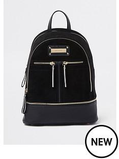 river-island-medium-zip-backpack-black