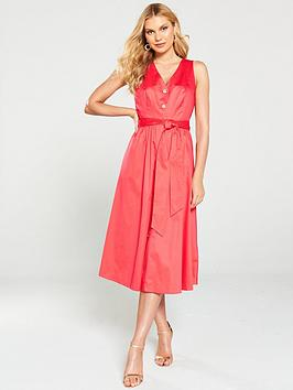 ted-baker-ryylie-button-down-cotton-midi-dress-bright-red