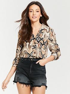 michelle-keegan-pocket-front-open-collar-shirt-snake-print