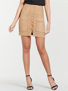 michelle-keegan-suede-utility-mini-skirt-tan