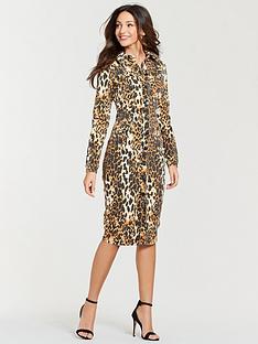 michelle-keegan-printed-denim-pencil-dress-leopard