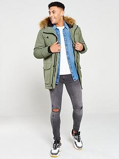 v-by-very-faux-fur-trim-parka-khakii