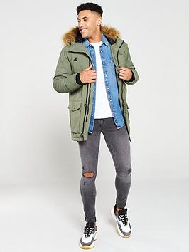 v-by-very-faux-fur-trim-parka-khakii