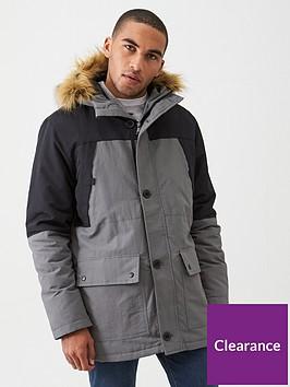 very-man-colour-block-parka-jacket-grey