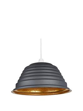Very Ridged Sanded Grey And Metallic Non-Electric Light Shade Picture