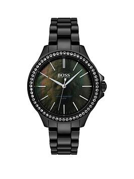 Boss Boss Boss Victoria Black Mother Of Pearl Crystal Set Dial Black  ... Picture