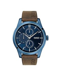 b0fa2974b8312 HUGO Hugo Discover Blue Multi Dial Brown Logo Embossed Leather Strap Mens  Watch