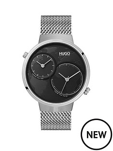 hugo-hugo-travel-black-dual-time-dial-stainelss-steel-mesh-strap-mens-watch