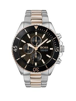 boss-boss-ocean-edition-black-sunray-and-carnation-gold-detail-chronograph-dial-two-tone-stainless-steel-bracelet-mens-watch