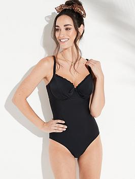 0b9e59abf0cda Pour Moi Splash Padded Underwired Swimsuit - Black | littlewoods.com