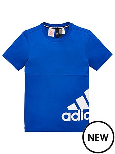 be8f0dce adidas Youth Badge Of Sport Side Logo T-shirt - Blue/White ...