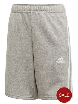 adidas-youth-3-stripe-shorts-greywhite