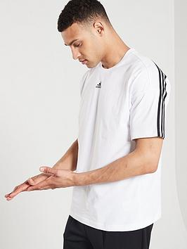 Adidas Adidas 3 Stripe Centre Logo T-Shirt - White Picture