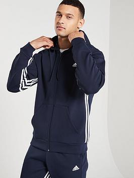 Adidas Adidas Side 3 Stripe Full Zip Hoodie - Ink Picture