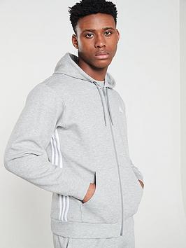 Adidas Adidas Side 3 Stripe Full Zip Hoodie - Medium Grey Heather Picture