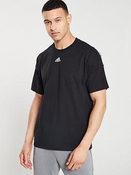 Adidas   3 Stripe Centre Logo T-Shirt - Black