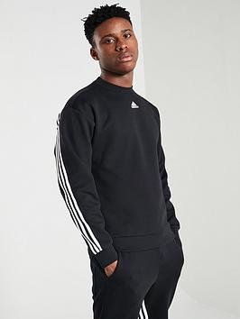 Adidas Adidas 3 Stripe Crew Neck Sweat - Black Picture