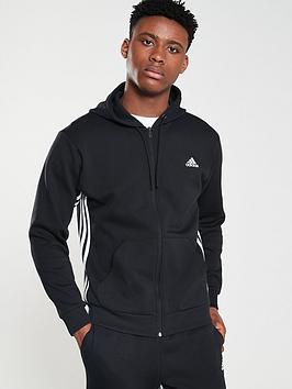Adidas Adidas Side 3 Stripe Full Zip Hoodie - Black Picture