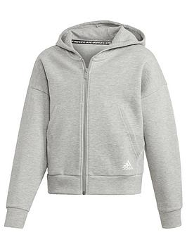 adidas-youth-3-stripe-full-zip-hoodie-greywhite