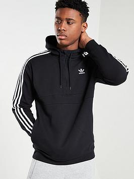 adidas Originals  Adidas Originals 3 Stripe Half Zip Hoodie - Black
