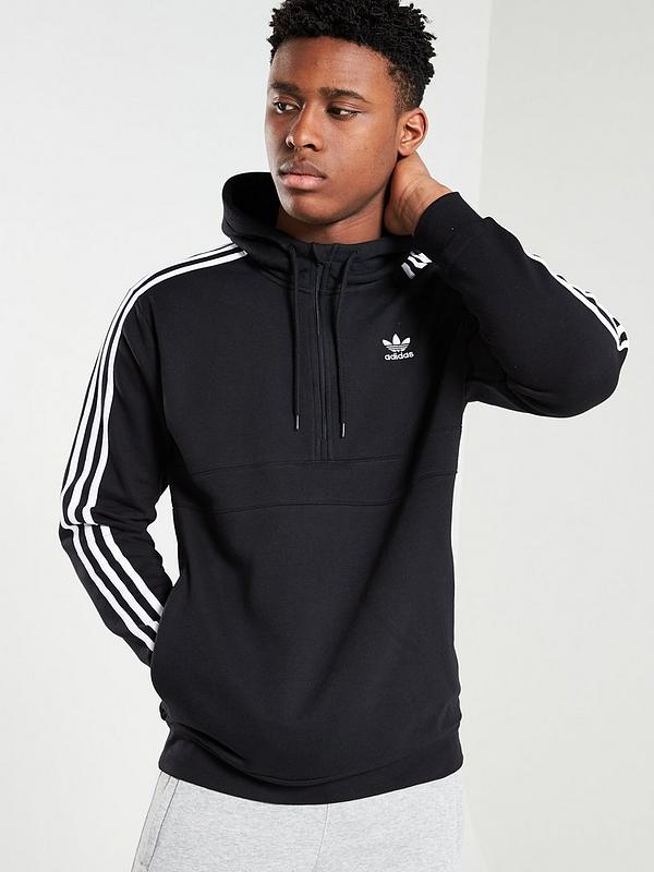 adidas Originals 3 Stripes Half Zip Hoodie Black | Mainline