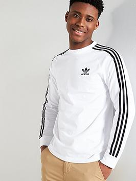 adidas Originals  Adidas Originals 3 Stripe Long Sleeve T-Shirt - White