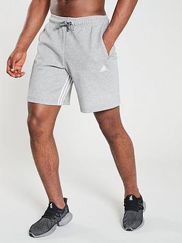 Adidas   Inside Leg 3 Stripe Shorts - Medium Grey Heather