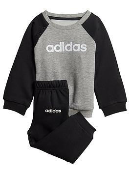 Adidas   Infant Linear Jogger Set - Grey/Black
