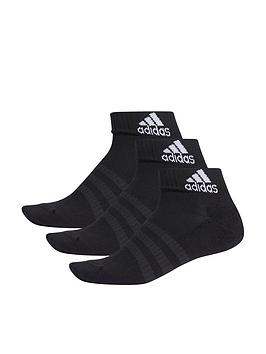 Adidas   3 Stripe Cushioned Ankle Socks - Black