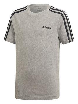 Adidas Adidas Youth 3 Stripe T-Shirt - Grey/Black Picture